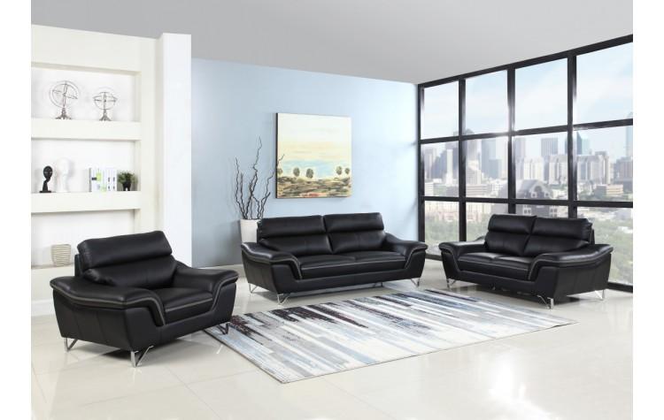 168 - Black Sofa Set