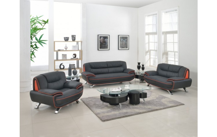 405 - Black Sofa Set