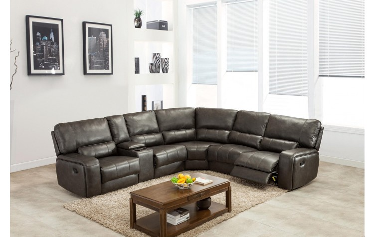 7096 - Gray Sectional with Power Recliners