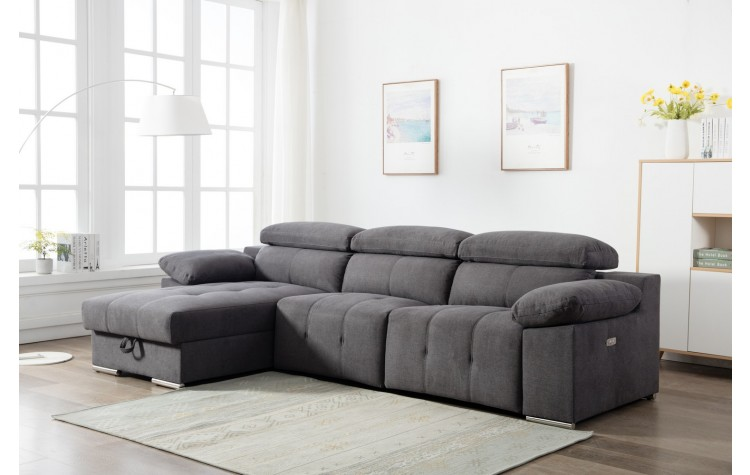 7306 - Gray Power Reclining LAF Sectional