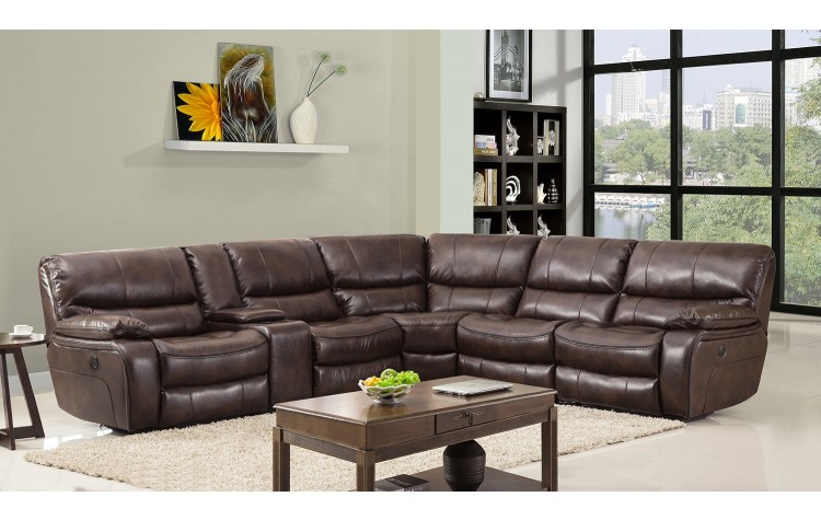 9931 - Dark Brown Sectional with Power Recliners