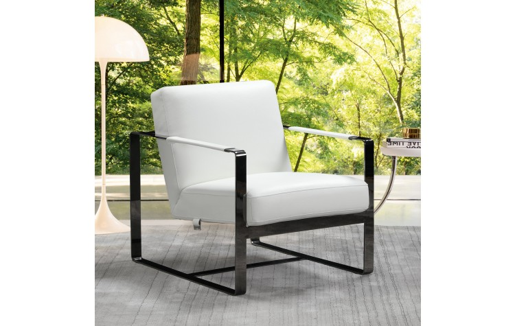 C67 - White Leather Accent Chair