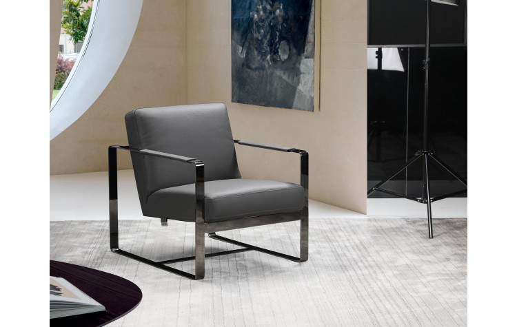 C67 - Dark Gray Leather Accent Chair