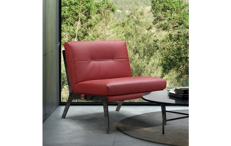 C81 - Red Leather Accent Chair