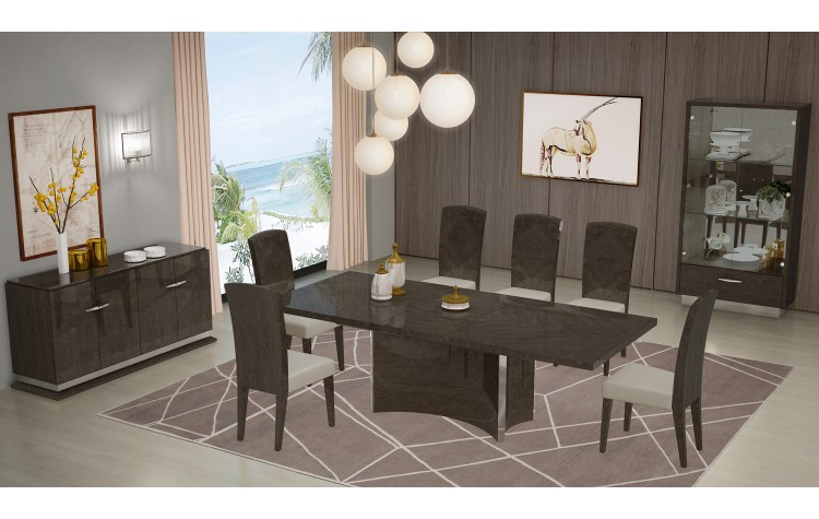 D845 - Gray Dining Table and 6 Chair Set