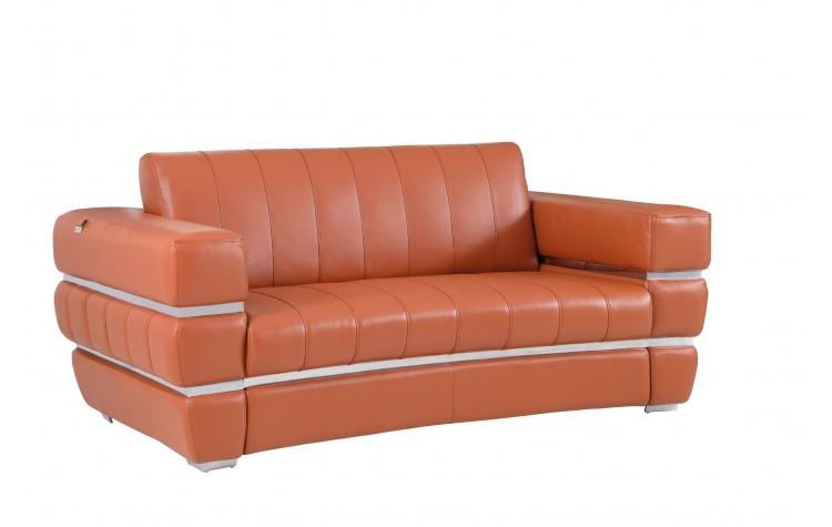 904 - Camel Italian Leather Loveseat