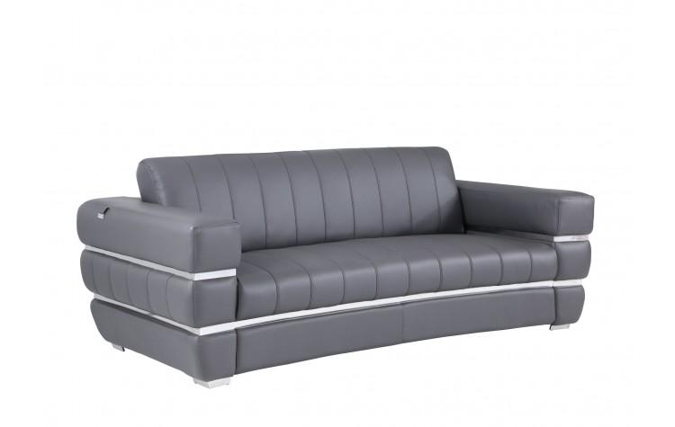 904 - Dark Gray Italian Leather Sofa