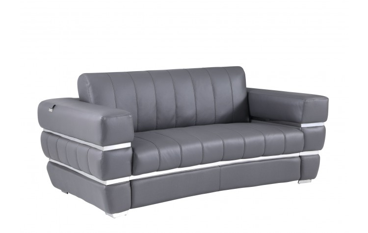 904 - Dark Gray Italian Leather Loveseat