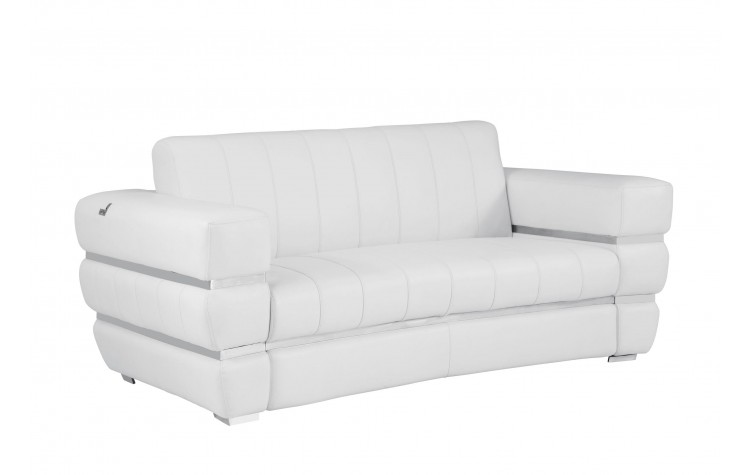 904 - White Italian Leather Loveseat