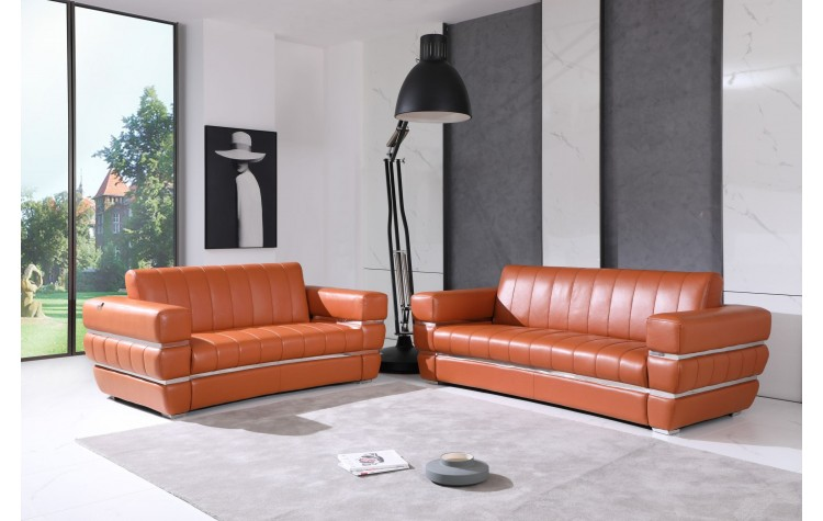 904 - Camel Italian Leather Sofa Love