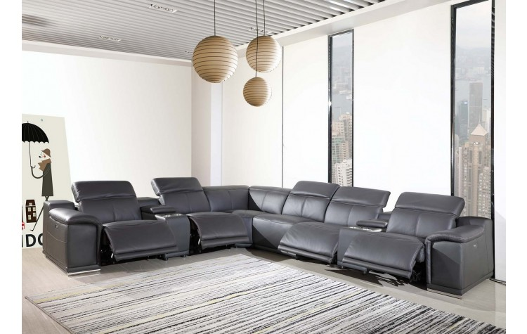 9762 - Dark Grey 4-Power Reclining 8PC Sectional w/ 2-Console