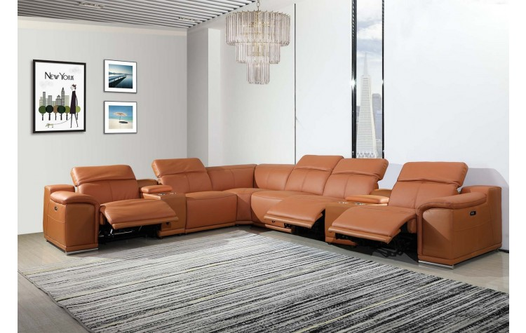 9762 - Camel 3-Power Reclining 8PC Sectional /w 2-Consoles