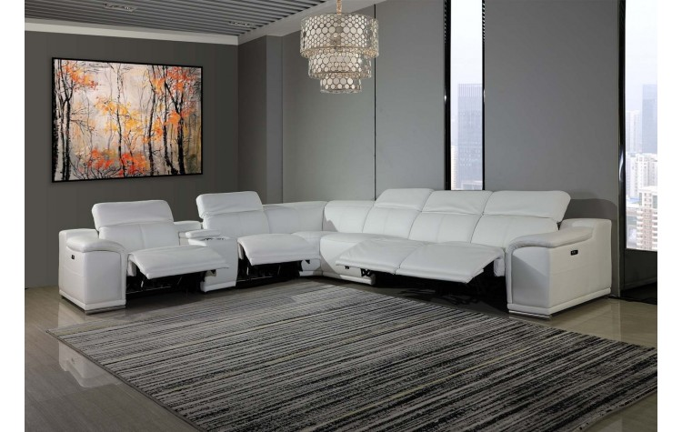 9762 - White 4-Power Reclining 7PC Sectional w/ 1-Console
