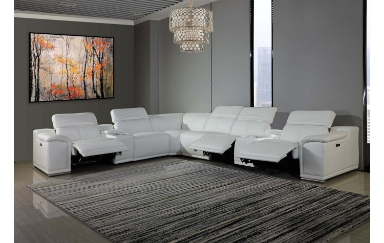 9762 - White 3-Power Reclining 8PC Sectional /w 2-Consoles