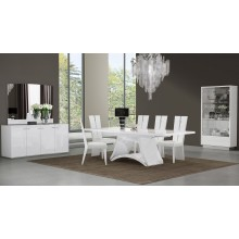 D313 - White Dining Table and 6 Chair Set