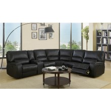 7096 - Black Sectional with Power Recliners