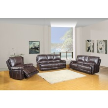 9345 - Brown Sofa Set with Console Loveseat