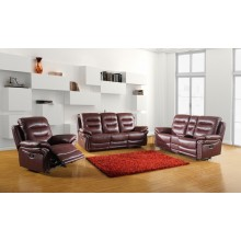 9392 - Burgundy Sofa Set with Console Loveseat