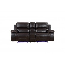 9422 - Brown Power Reclining Console Loveseat