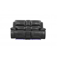 9422 - Gray Power Reclining Console Loveseat