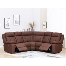 9443 - Brown Sectional with Power Recliners