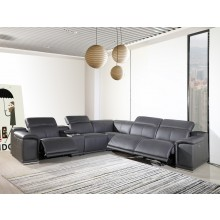 9762 - Dark Grey 3-Power Reclining 6PC Sectional w/ 1-Console