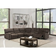 9906 - Brown Sectional with Power Recliners