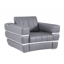 904 - Dark Gray Italian Leather Chair