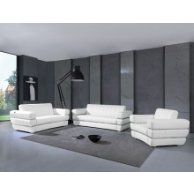 904 - White Italian Leather Sofa Set