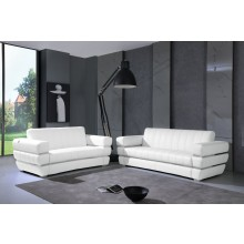 904 - White Italian Leather Sofa Love