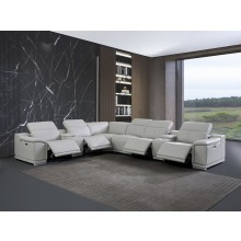 9762 - Light Gray 4-Power Reclining 8PC Sectional /w 2-Consoles