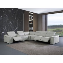 9762 - Light Gray 3-Power Reclining 7PC Sectional w/ 1-Console