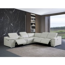 9762 - Light Gray 3-Power Reclining 6PC Sectional w/ 1-Console
