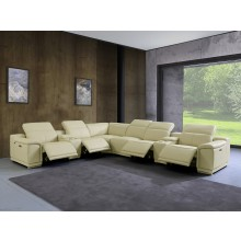 9762 - Beige 4-Power Reclining 8PC Sectional /w 2-Consoles