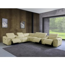 9762 - Beige 3-Power Reclining 8PC Sectional /w 2-Consoles