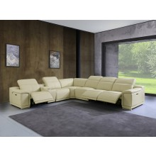 9762 - Beige 3-Power Reclining 7PC Sectional w/ 1-Console