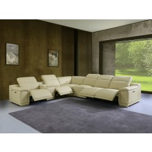 9762 - Beige 4-Power Reclining 7PC Sectional w/ 1-Console