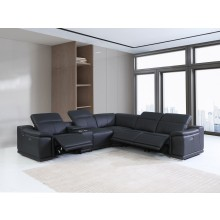 9762 - Black 3-Power Reclining 6PC Sectional w/ 1-Console