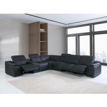 9762 - Black 3-Power Reclining 7PC Sectional w/ 1-Console
