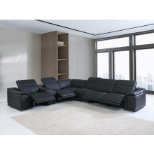 9762 - Black 4-Power Reclining 7PC Sectional w/ 1-Console