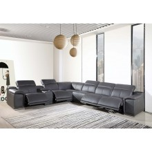9762 - Dark Grey 4-Power Reclining 7PC Sectional w/ 1-Console