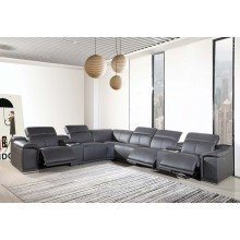 9762 - Dark Grey 3-Power Reclining 8PC Sectional w/ 2-Console