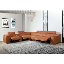9762 - Camel 4-Power Reclining 7PC Sectional w/ 1-Console