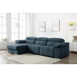 7306 - Blue Power Reclining LAF Sectional