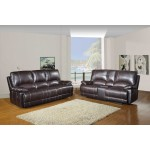 9345 - Brown Sofa with Console Loveseat