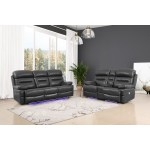 9442 - Gray Power Reclining Sofa Love