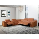 9762 - Camel 3-Power Reclining 6PC Sectional w/ 1-Console
