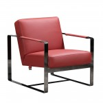 C67 - Red Leather Accent Chair