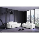 9762 - White Power Reclining Sofa Love