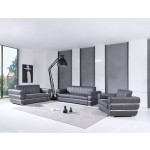 904 - Dark Gray Italian Leather Sofa Set